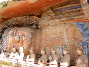 The sleeping Buddha of the Dazu caves, Chongqing